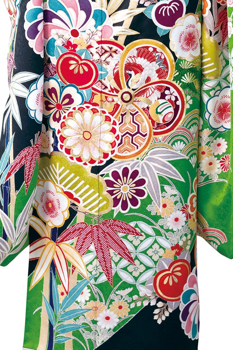 花々や松などが鮮やかで躍動感溢れる色遣いですね。